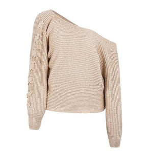Camel One Shoulder Knit Sweater with long Batwing Sleeves and Lace Up Sleeves