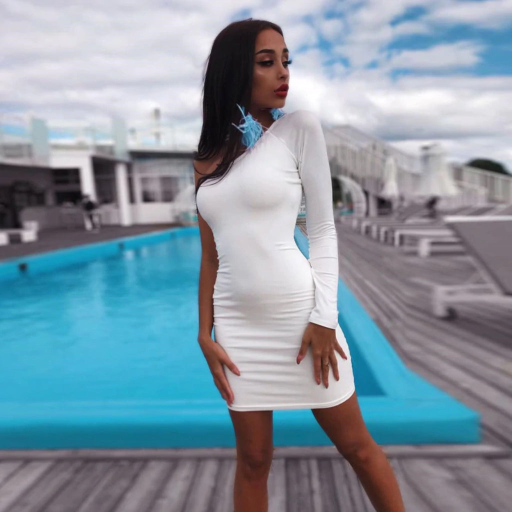 One Shoulder Mini Dress White Bodycon Dress
