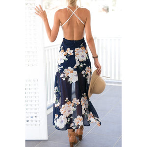 Open Back High Low maxi Dress Blue Floral Maxi Dress Open Shoulder Dress Street Style Fashion Dress
