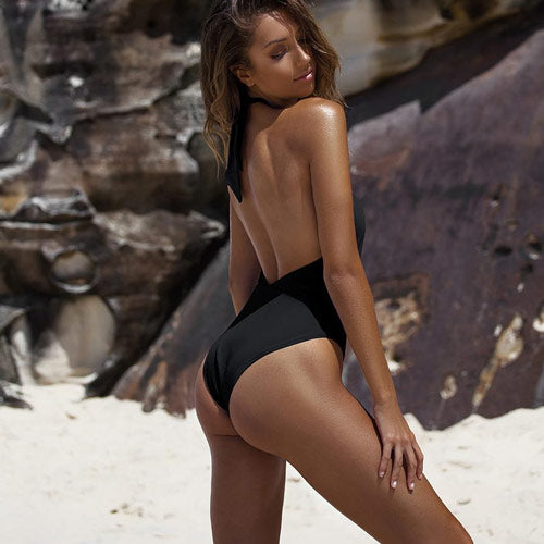 Open Back One Piece Swimsuit High Leg Cheeky Bottoms