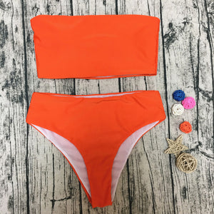 Orange High Waist Bandeau Bikini
