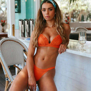 Orange Triangle Thong Bikini Set Low Rise Bottoms