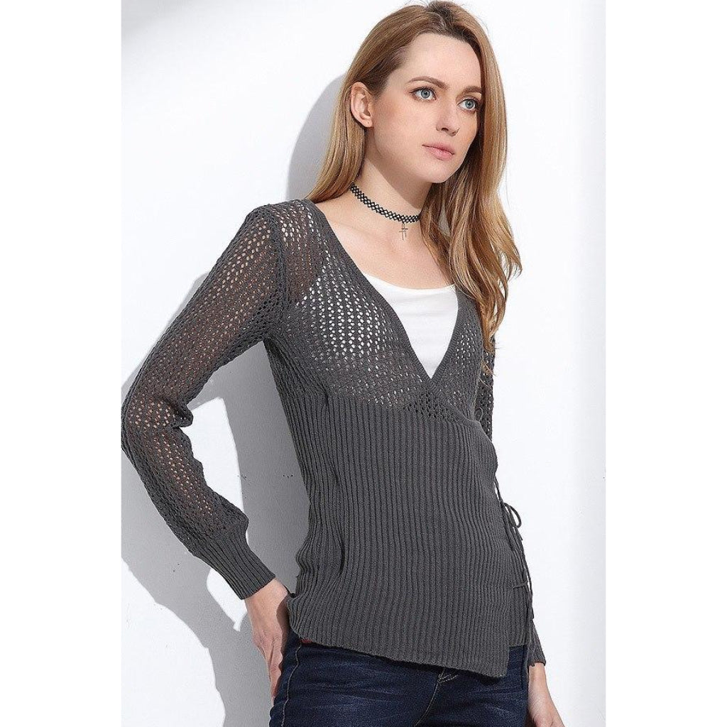 Overlap Lace Up Cardigan Gray Knitted Sweater