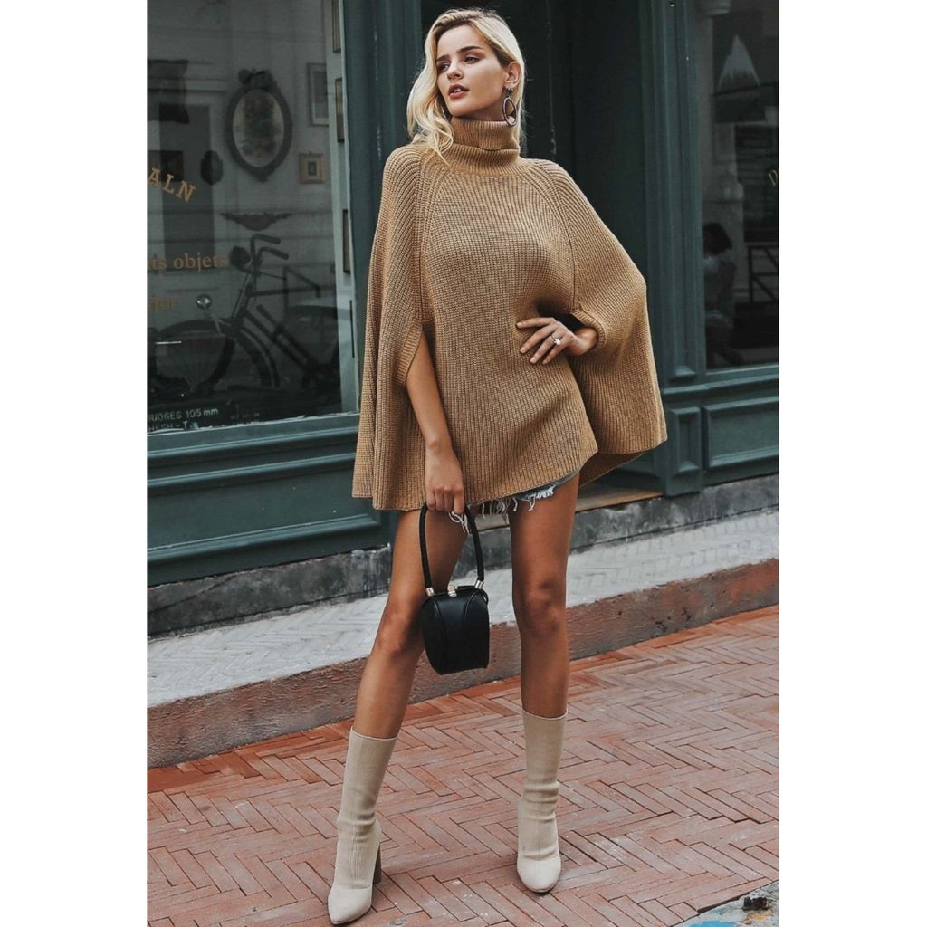 Oversized Turtleneck poncho Sweater for women without sleeves