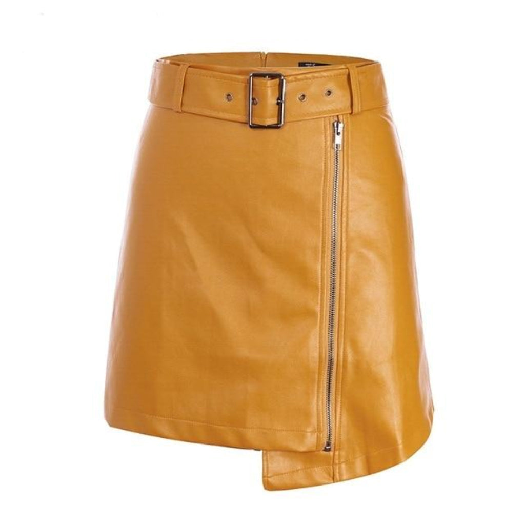 Yellow Faux Leather Mini Skirt High Waisted with a belt and zipper features