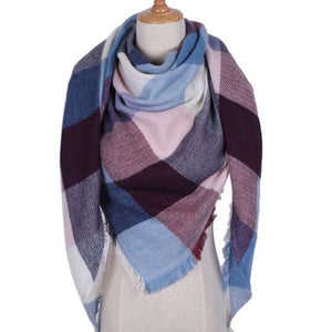 Pink Blue Street Style Scarf for Women's Plaid Triangle Fashion Shawl