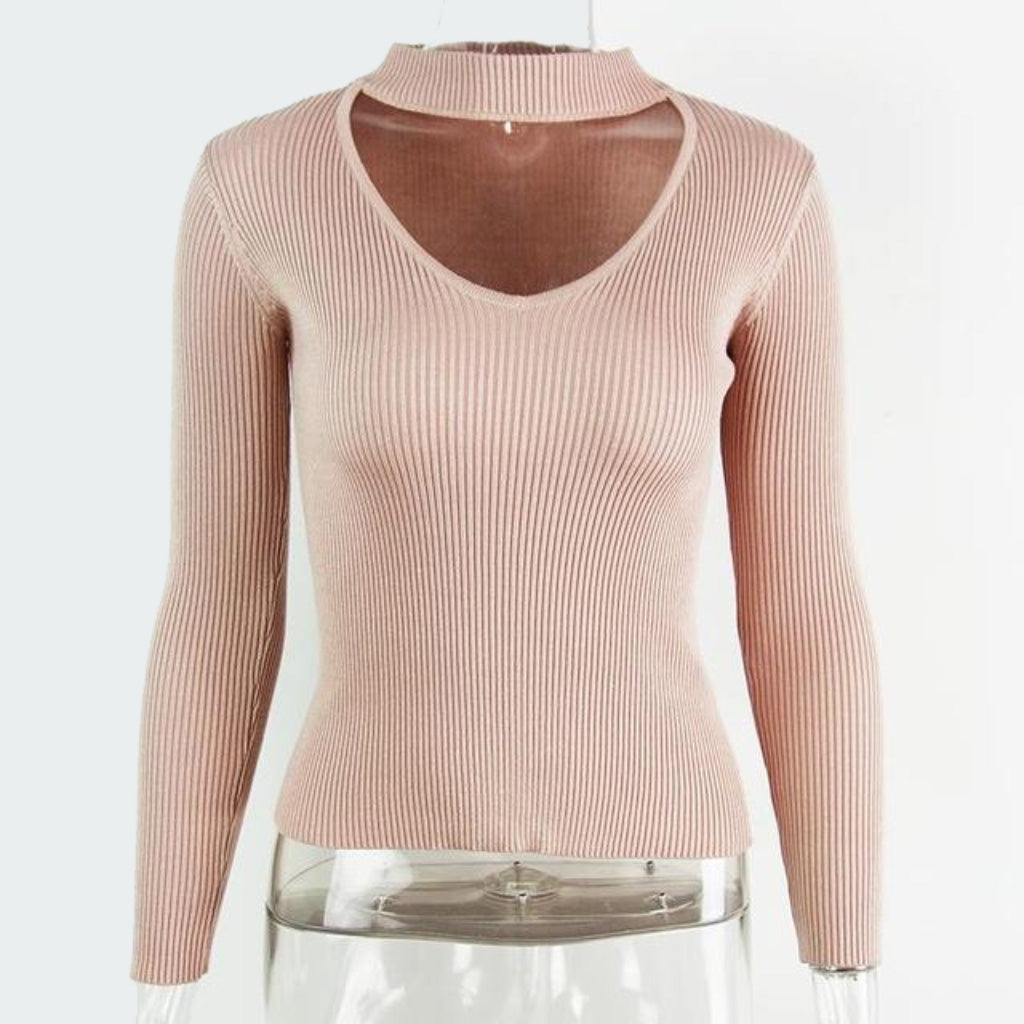 Pink Choker Sweater Women Pullover Knit Long Sleeve Sweater