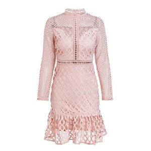 Pink Mini Dress Hollow Out Classy Outfit