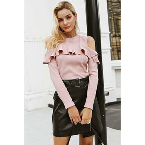 Pink Ruffle Cold Shoulder Sweater Long Sleeve Street Style Sweater