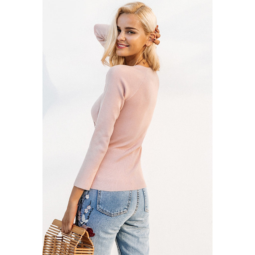 Pink Pullover Lace Up Sweater Cross V-neck