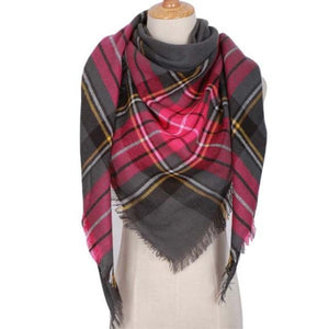 Pink Gray Plaid Scarf Street Style Fashion Shawl