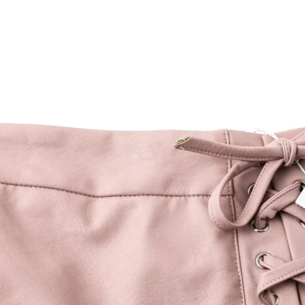 Lace Up Pink Leather Mini Skirt