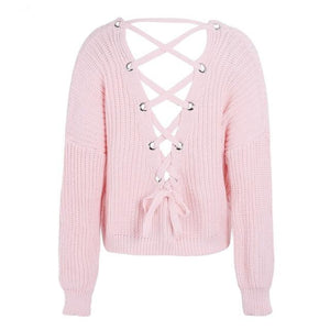 Pink Lace Up Back Sweater with Open Back and Long Sleeves High Low Sweater
