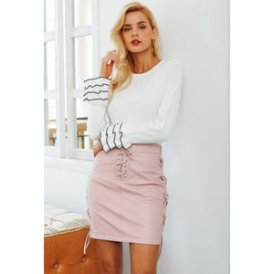 Pink Leather Mini Skirt Lace Up Detail