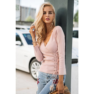 Lace Up Pullover Sweater Pink Long Sleeve Cross V-neck Sweater Street Style