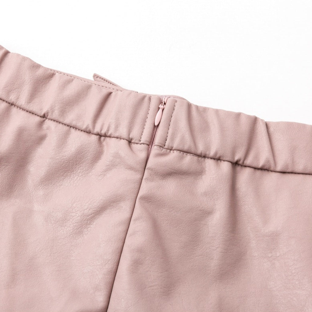 Zip Up Leather Mini Skirt Pink