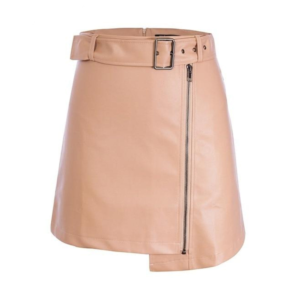 Pink Leather Mini Skirt Faux Leather with High Waist and Belt