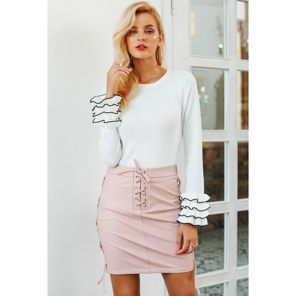 Pink Lace Up Leather Mini Skirt