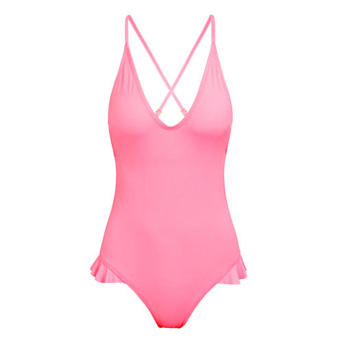 Pink One-piece Swimsuit Cheeky Bottom Monokini Open Back Low Cut Front