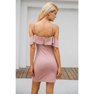 Pink Party Dress Cold Shoulder Ruffles and Mini Length