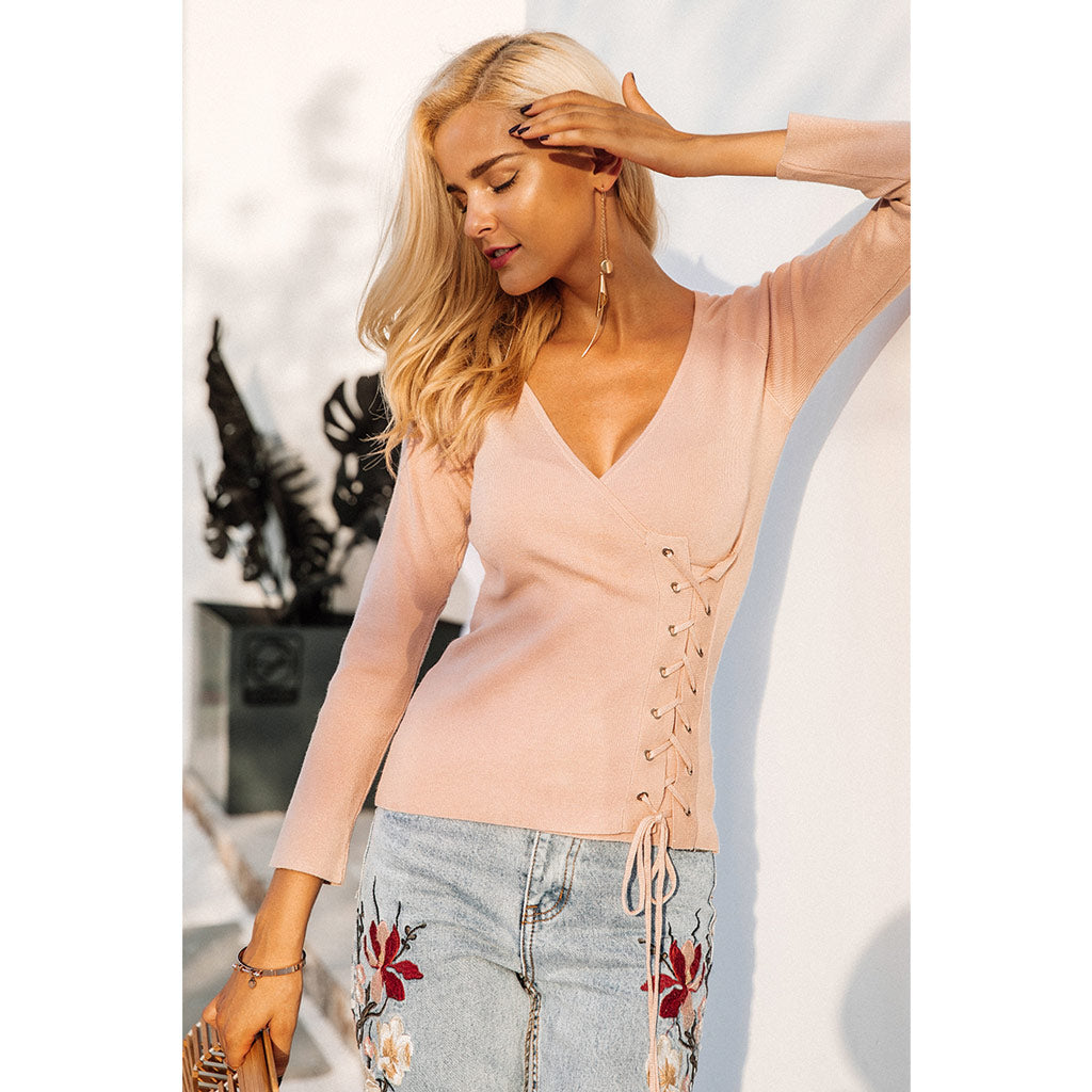 Pink Lace Up Pullover Sweater Cross V-neck Long Sleeve Soft Knit Sweater
