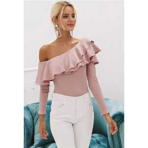 Pink One Shoulder Blouse Street Style Top