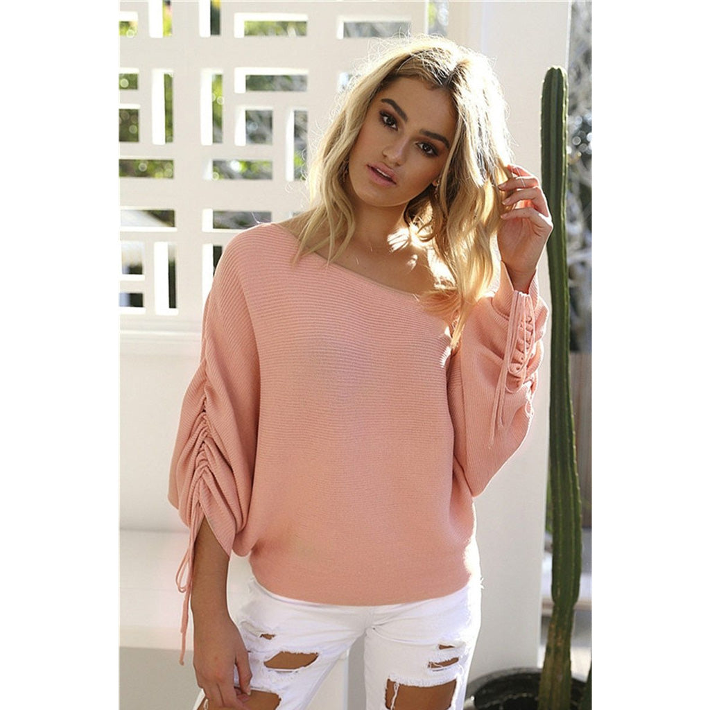 Pink Lace Up Sleeve Off the Shoulder Pullover Sweater for Women Online Shopping