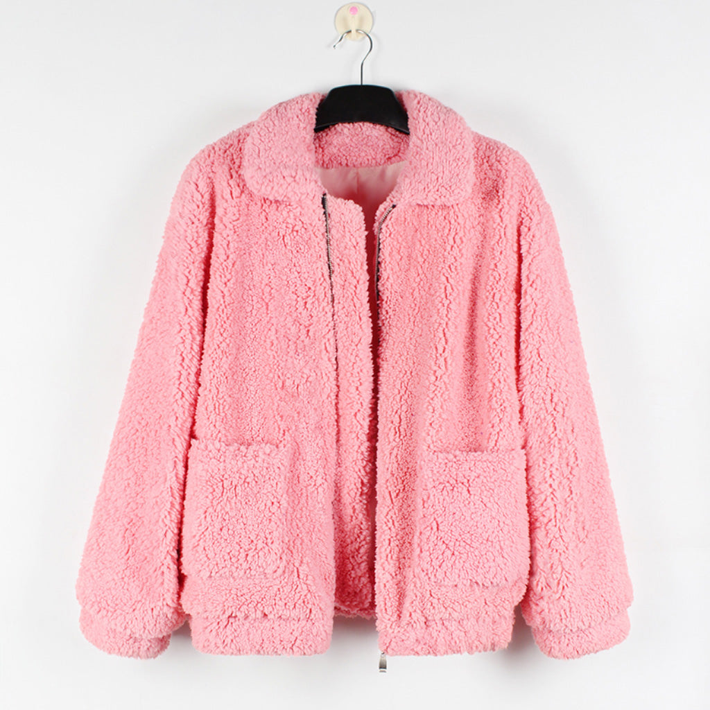 Pink Teddy Coat Women Faux Sherpa Bomber Jacket
