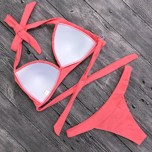 Pink Triangle Halter Top Bikini Swimsuit Low Rise Thong Bottoms