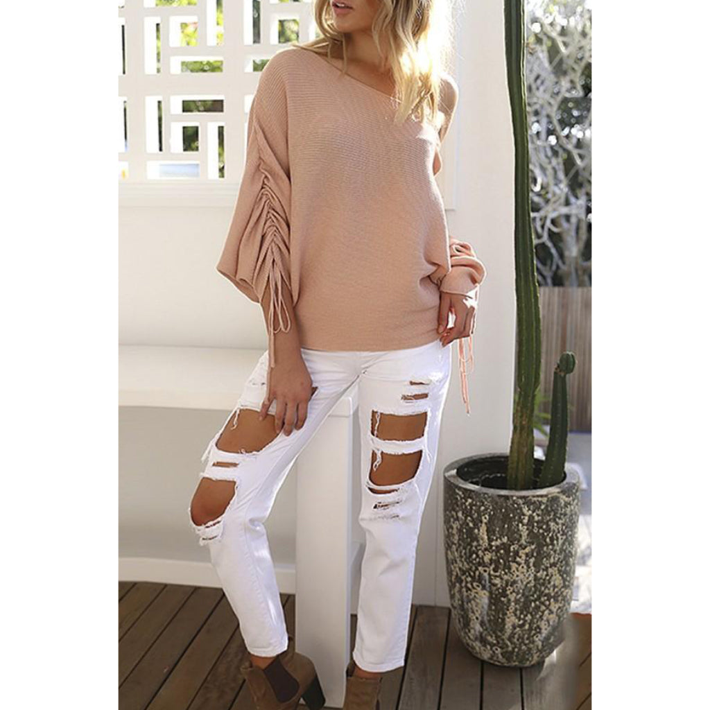 Pink Off the Shoulder Sweater Knit Pullover Lace Up Sleeve Women's Online Shopping