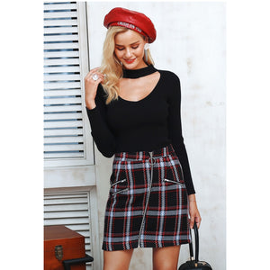 Plaid High Waist Black Mini Skirt