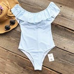 Plus size Off the shoulder one-piece swimsuit Blue Striped
