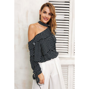 Polka Dot Cold Shoulder Blouse Black with Lantern Sleeves, ruffles down the front and Bows on the cuffs
