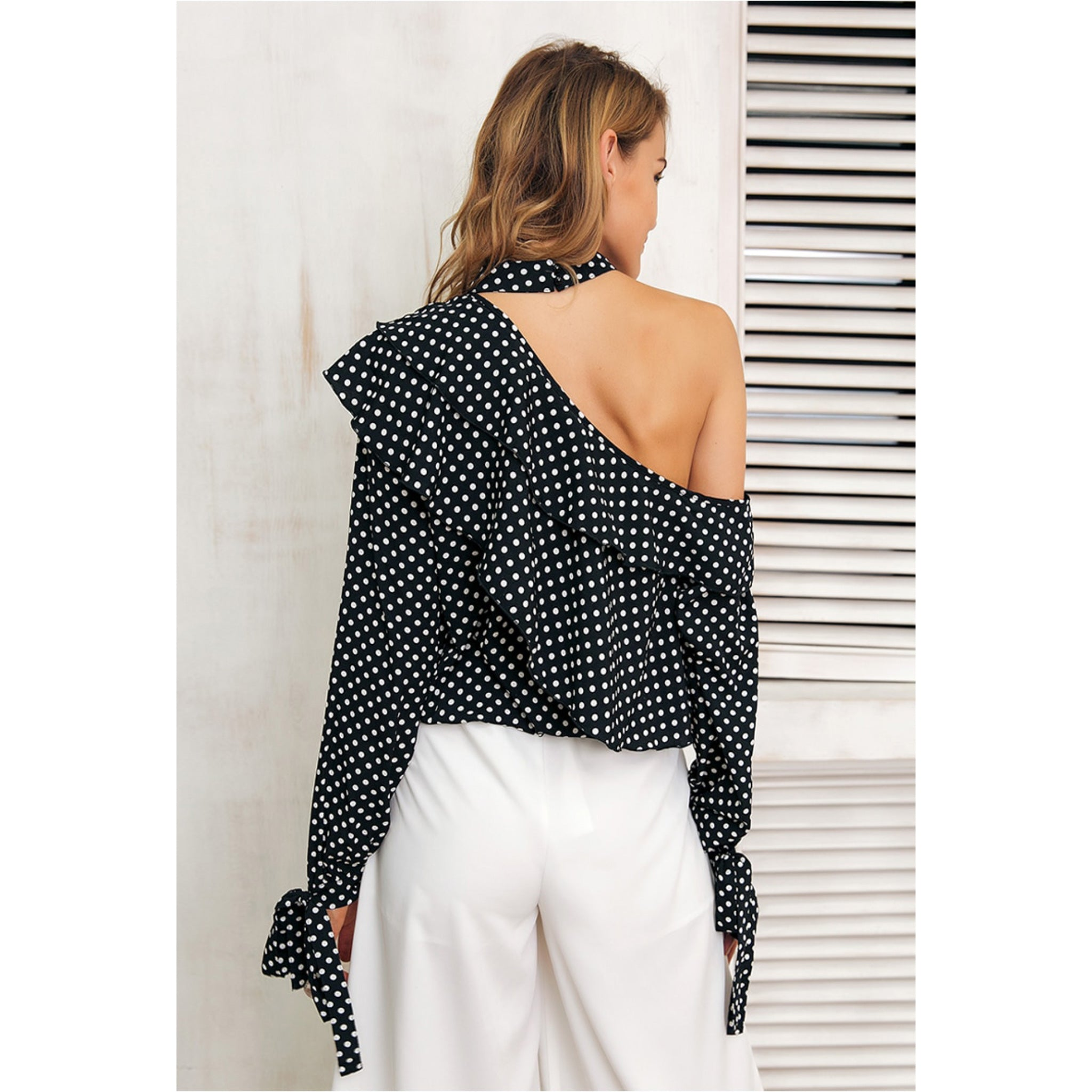 Polka Dot Choker Blouse with Cold Shoulder, ruffles and lantern sleeves with bows on the cuffs