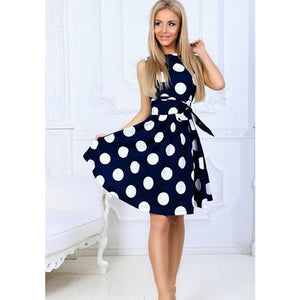 Polka Fit and Flare Dress Sash A-line with O neck sleeveless