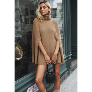 Poncho cape Women camel turtleneck sweater batwing sleeve poncho