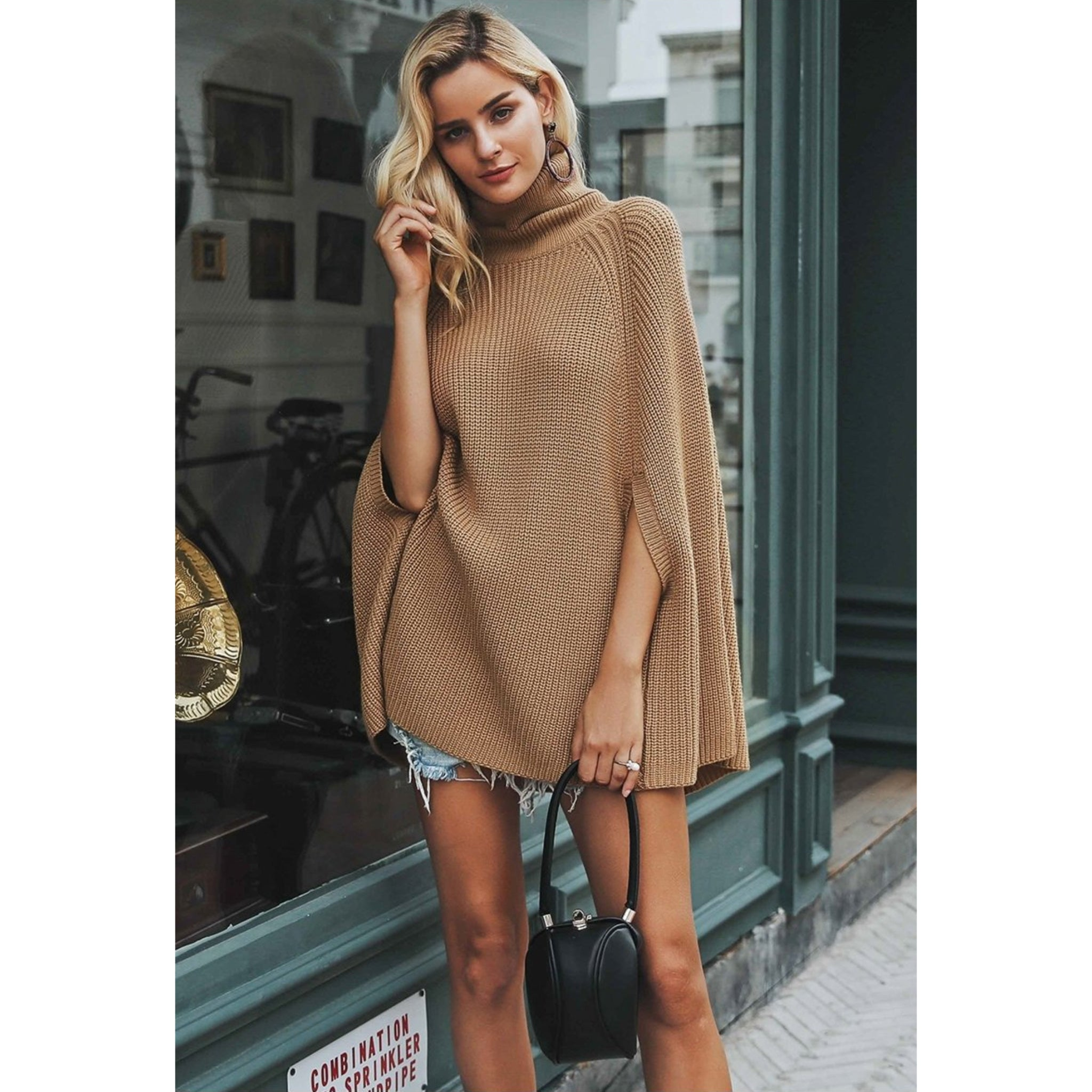 Batwing sleeve Poncho like sweater Womens camel turtleneck