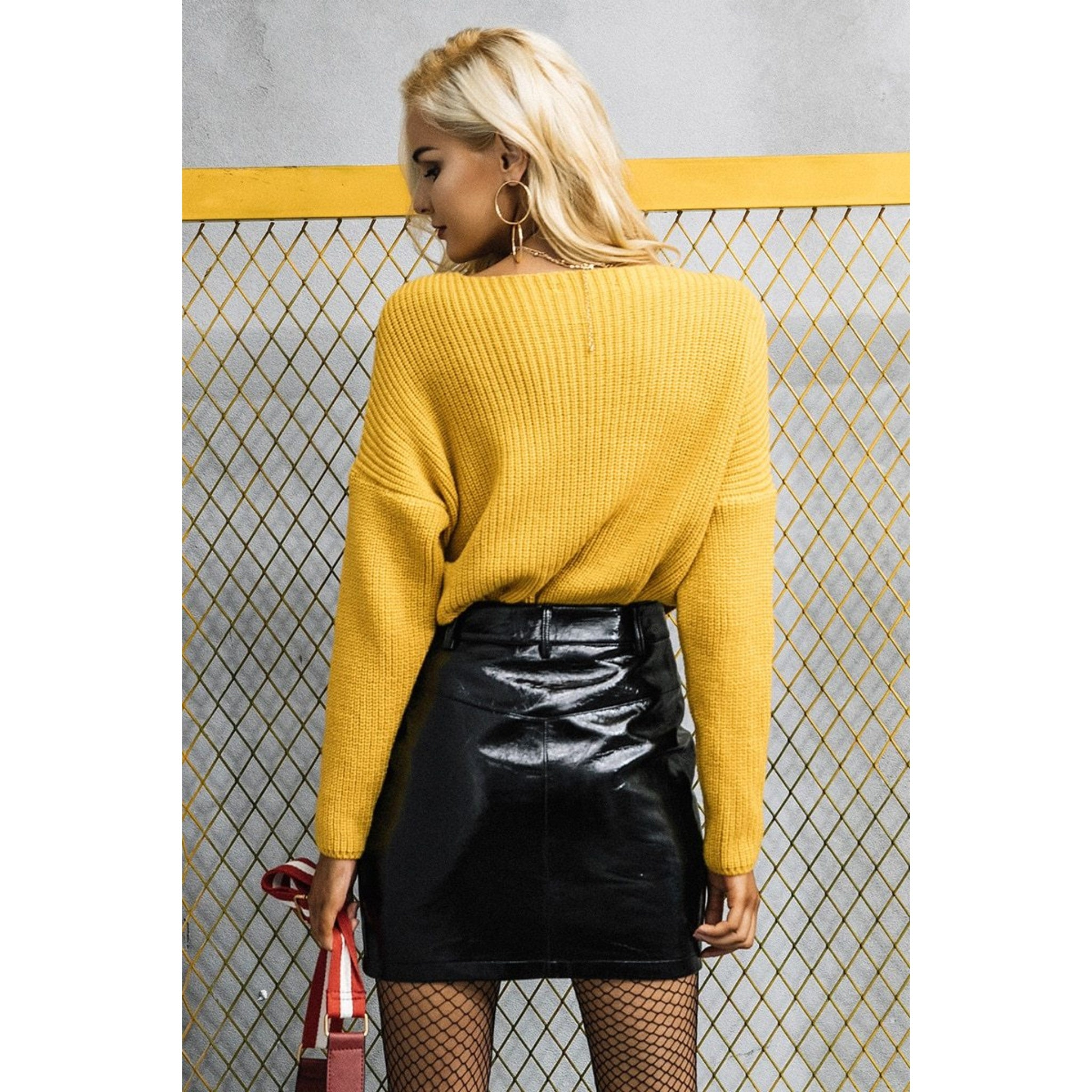 Yellow Knitted Pullover Cross V-neck Sweater with Long Sleeves
