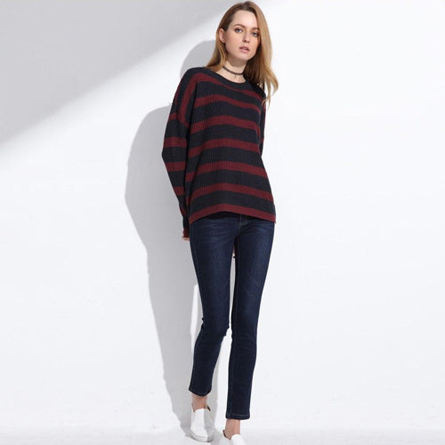 Women's High Low Pullover Knitted Striped Sweater with Long Sleeves and O-neck