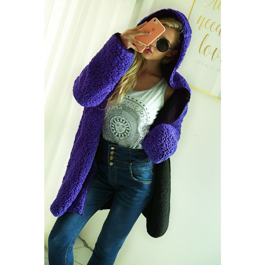 Purple Soft and Fluffy Lambswool Jacket