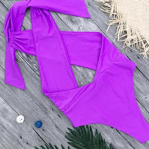 Purple Strappy One-piece Swimsuit Open Back and High Leg