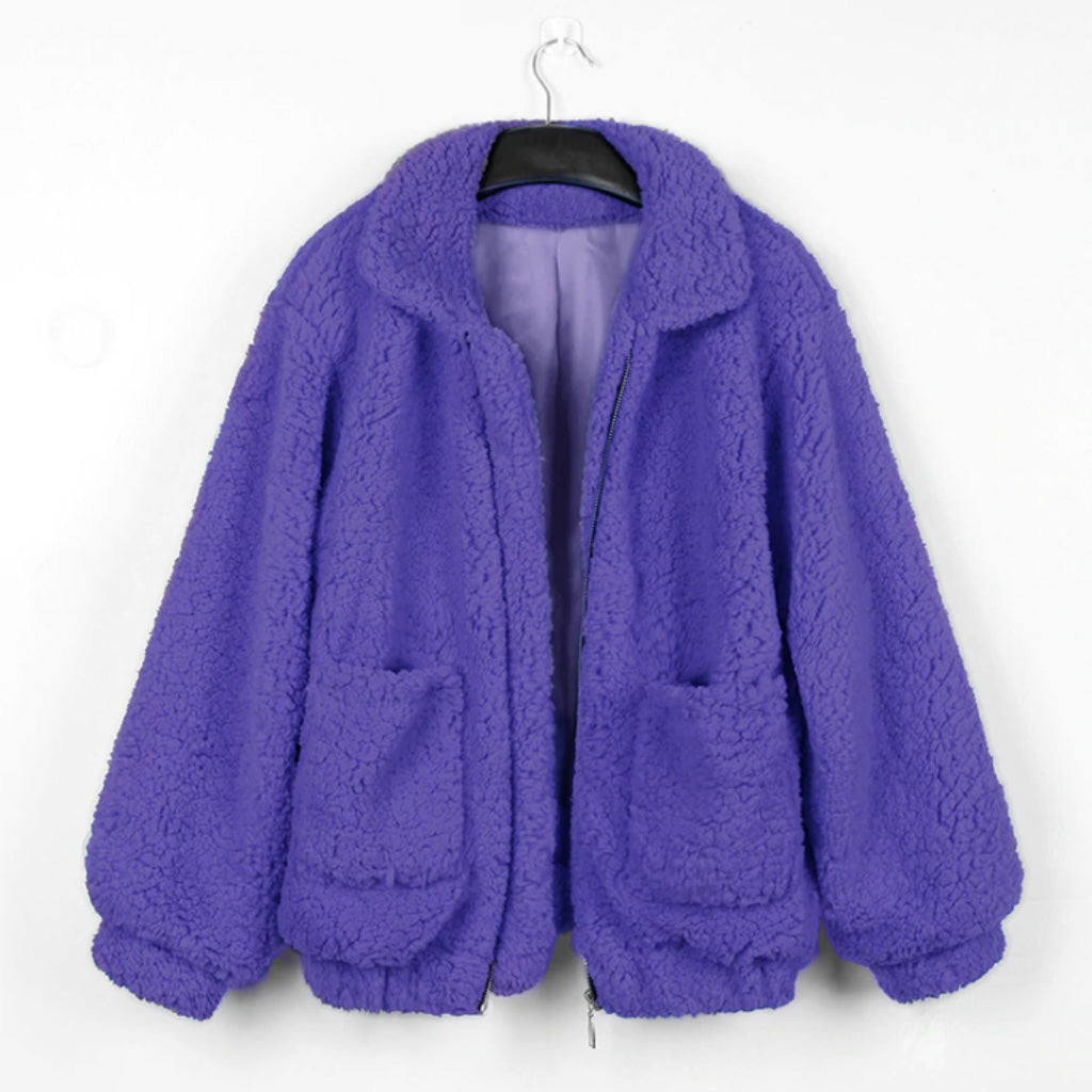 Purple Teddy Coat Faux Sherpa Bomber Jacket