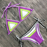 Purple and Green Triangle Bikini Tie-side Bottoms