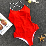 Backless Red One-piece Swimsuit