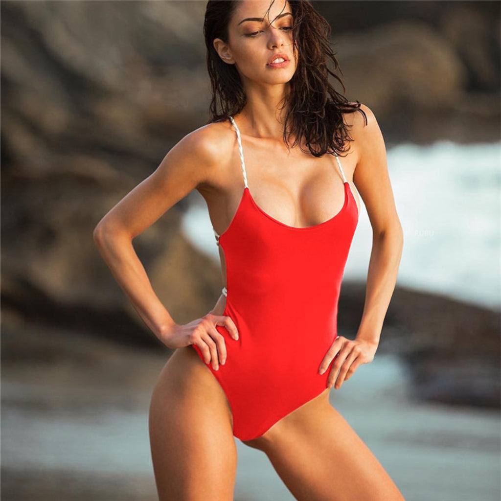 Red One-piece Swimsuit Strappy Back Scarlett Swimsuit