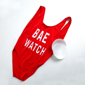 Classic Red Bae Watch One-piece