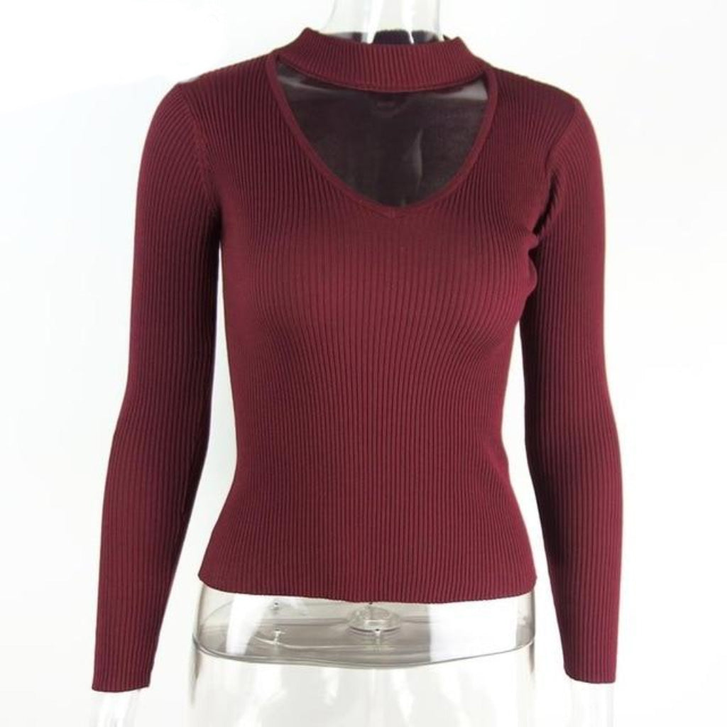 Wine Red Choker Sweater Women Knit Long Sleeve Pullover Sweater