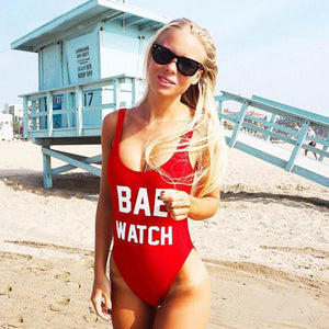 Red Classic Bae Watch One-piece Swimsuit