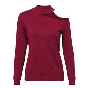 Wine Red Pullover Cold Shoulder Choker Sweater Shop