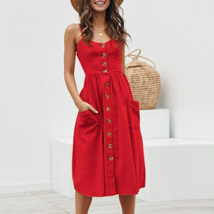 Casual Red Summer Dress with Buttons and Pockets